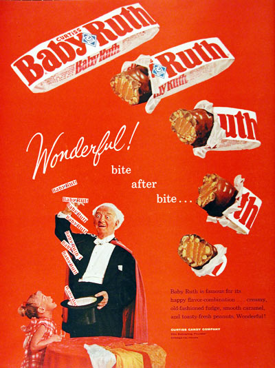 1962 Baby Ruth Chocolate Bar Classic Vintage Print Ad