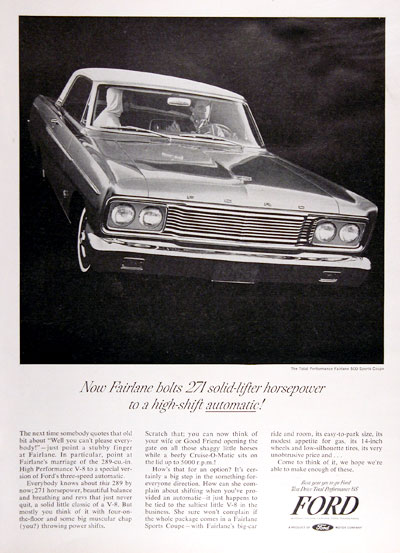1965 Ford Fairlane 500 Sport Coupe Vintage Ad #004625