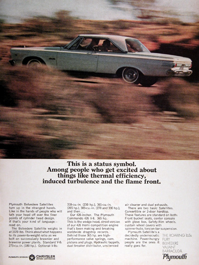 1965 Plymouth Belvedere Satellite Coupe Vintage Ad #025360
