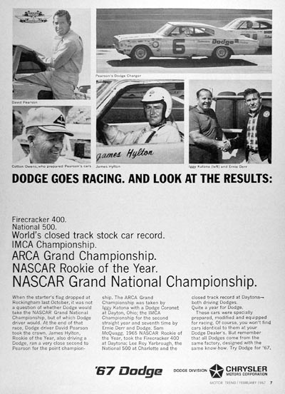 1967 Dodge Racing Vintage Ad #025276
