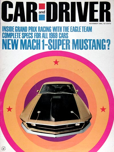 1968 Car & Driver Cover ~ 1969 Ford Mustang MACH 1 #023718