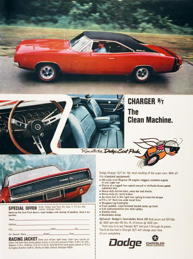 1968 Dodge Charger R/T Advertising Ad