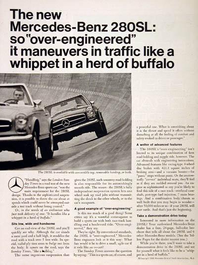 1968 Mercedes Benz 280 Sl Roadster Classic Vintage Print Ad