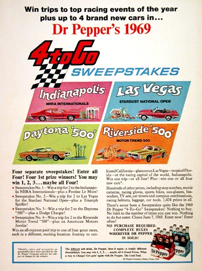 1969 Dr Pepper Sweepstakes #004814