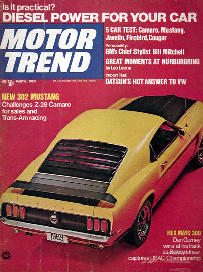 1969 motor trend cover ford mustang 302 for New deal online motor trend