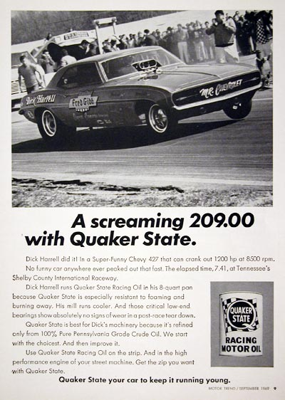 1969 Quaker State Dick Harrell #023196