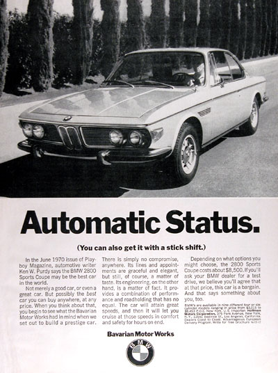 1971 BMW 2800 Sport Coupe Vintage Ad #004909