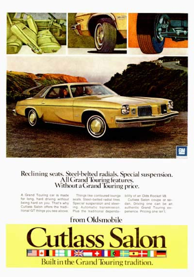 1974 oldsmobile cutlass grand touring salon vintage ad for 1974 cutlass salon