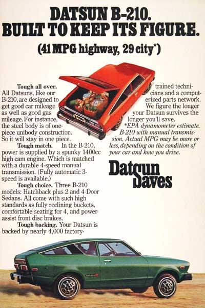 1976 Datsun B210 Hatchback Classic Vintage Print Ad