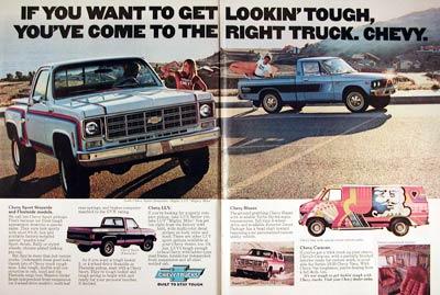 Chevrolet on 1977 Chevrolet Sport Stepside Luv Blazer Trucks Classic Vintage Print