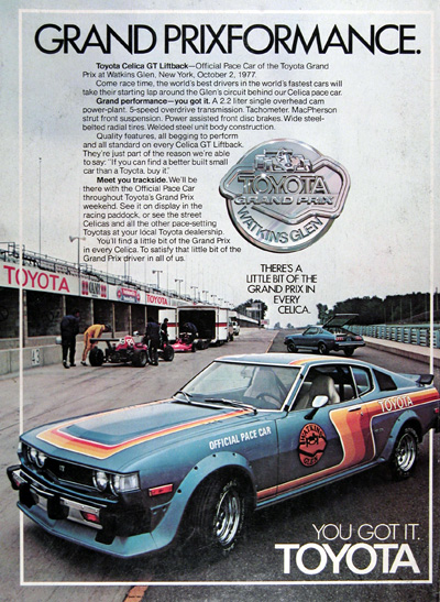 1977 Toyota Celica Pace Car Vintage Ad #025377