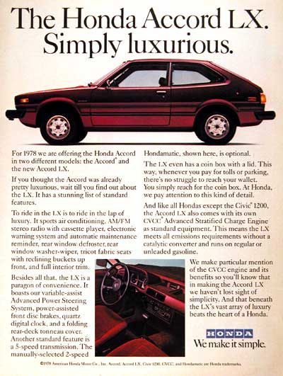 1978 Honda Accord LX Classic Vintage Print Ad