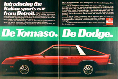Dodge on 1980 Dodge Detomaso 024 Sport Coupe Original Vintage Advertisement