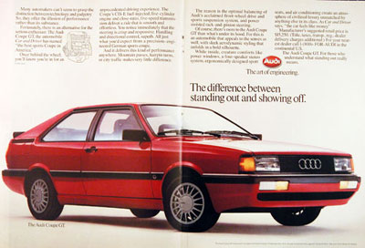 Audi on 1985 Audi Coupe Gt Classic Vintage Print Ad