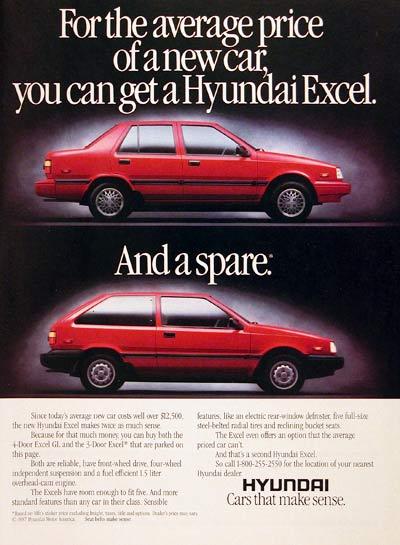 1987 Hyundai Excel Hatchback & Sedan Vintage Print Ad