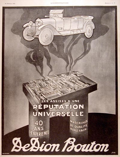 1925 DeDion Bouton Automobile Vintage French Ad #000161