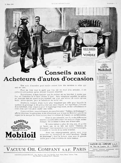 1925 Mobil Oil Vintage French Ad #000157