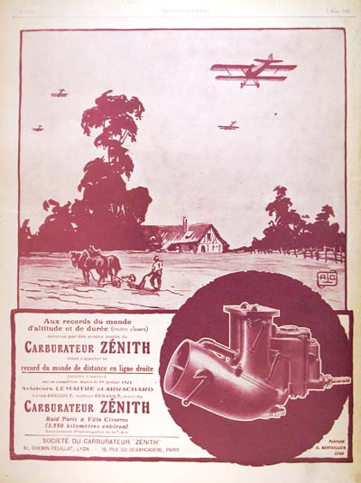 1925 Zenith Carburaters Vintage French Ad #000159