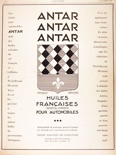 1926 Antar Motor Oil Vintage French Ad #000186