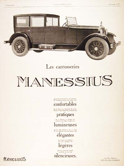 1926 Manessius Vintage French Ad #000193
