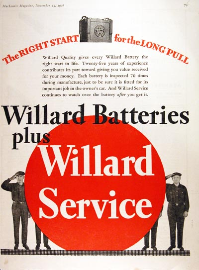 1928 Willard Battery Vintage Ad