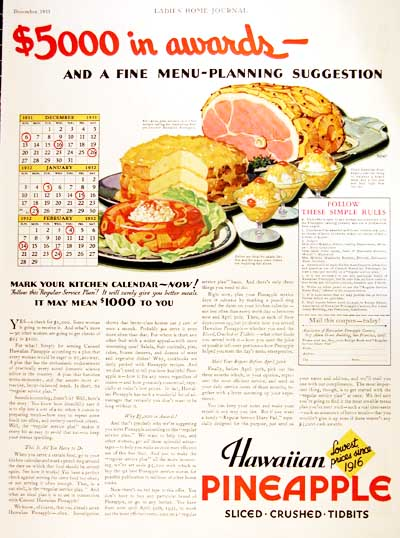 1931 Hawaiian Pineapple Vintage Ad #000310
