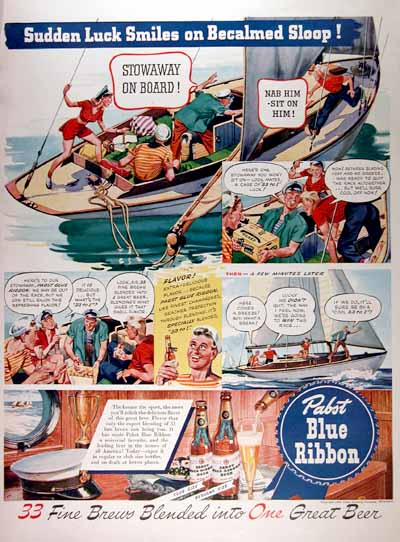 1942 Pabst Blue Ribbon Beer Vintage Ad #000390