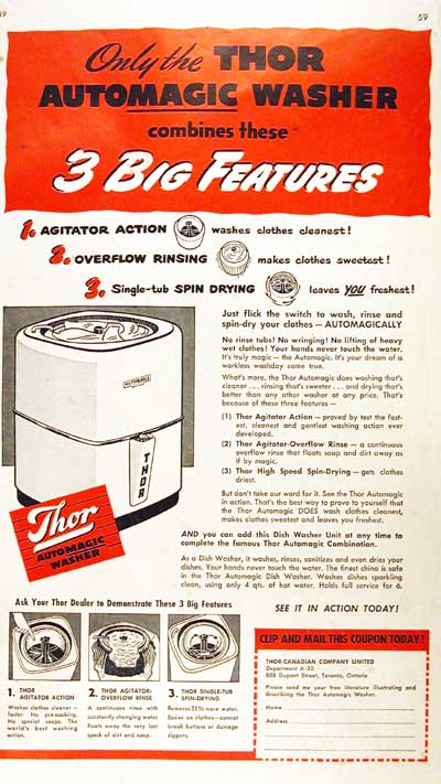 1949 Thor Washing Machine Vintage Ad #000478