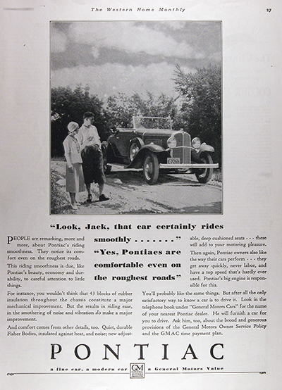1931 Pontiac Roadster Convertible Vintage CDN Ad #025812