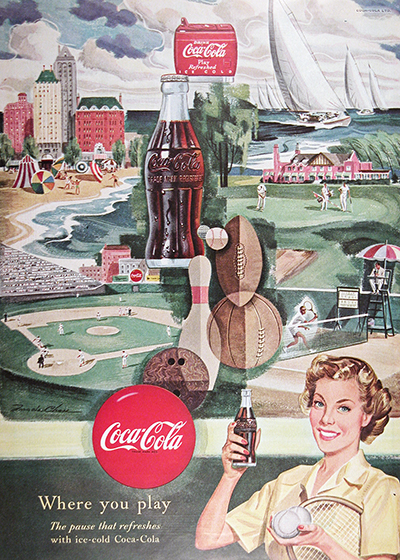 1950 Coca Cola Where You Play Vintage Ad #025511