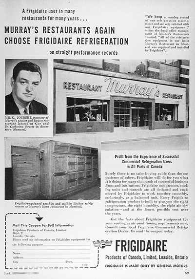 1950 Frigidaire Murray's Restaurant CDN Ad #025838