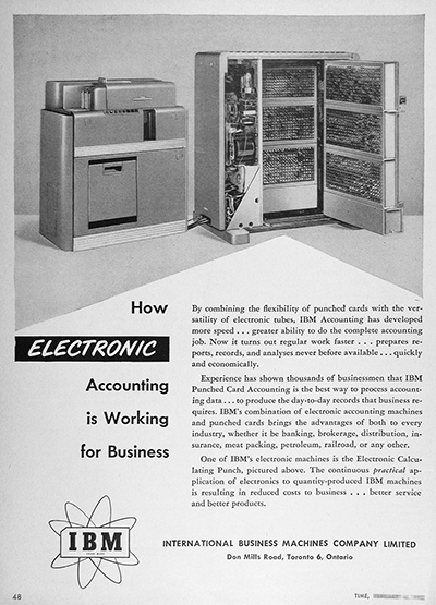 1952 IBM Accounting Computer Vintage Ad #025543