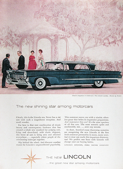 1958 Lincoln Landau Sedan Vintage Ad #025631