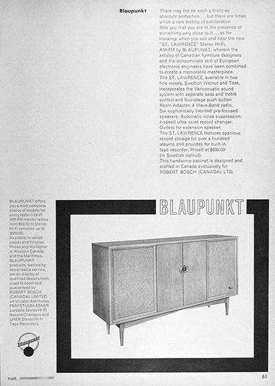 1959 Blaupunkt Stereo Console Vintage Ad #025923