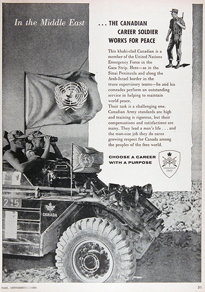 1959 Canadian Army UN Peacekeepers Vintage Ad #025652