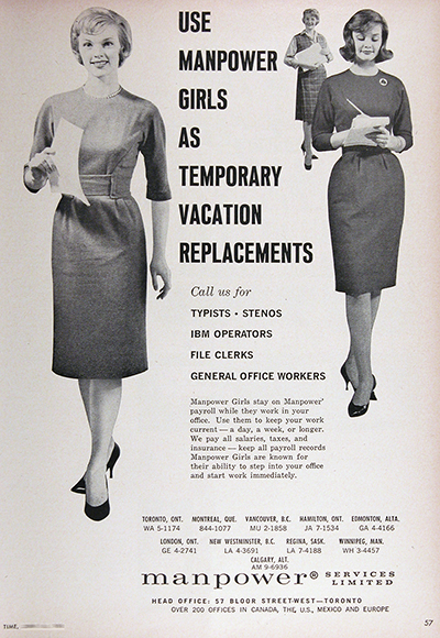 1961 Manpower Girls Vintage Ad #025741