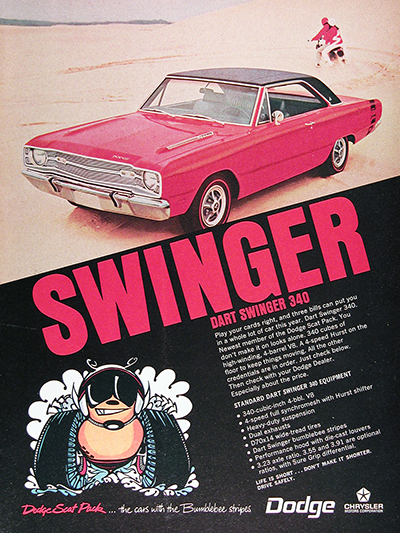 1969 Dodge Dart Swinger Genuine Vintage Ad #026045