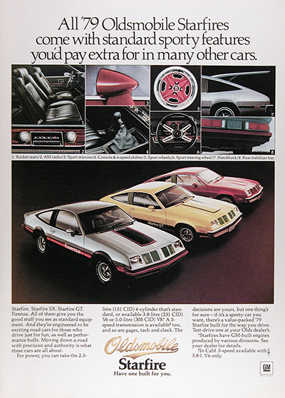 1979 Oldsmobile Starfire Coupe Vintage Ad #025999