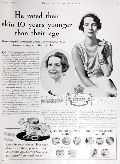 1934 Pond's Cold Cream Vintage Ad #025428