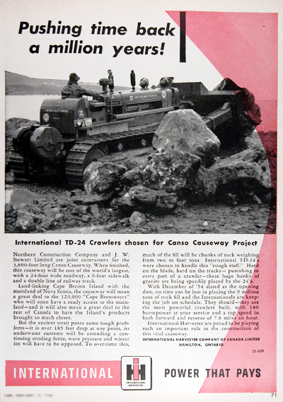 1954 International TD-24 Diesel Tractor Canso Vintage Ad #025396