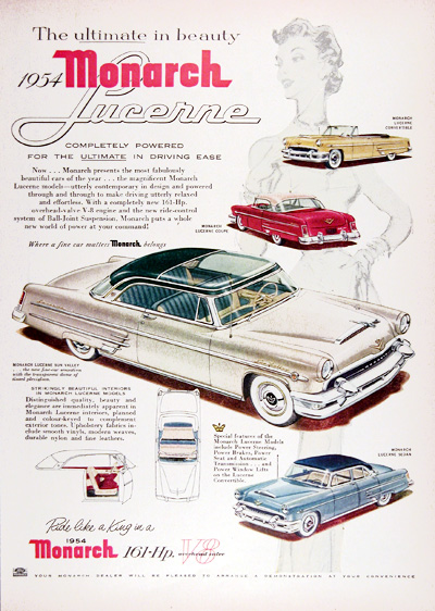 1954 Ford Monarch Lucerne Sun Valley Vintage Ad #025399