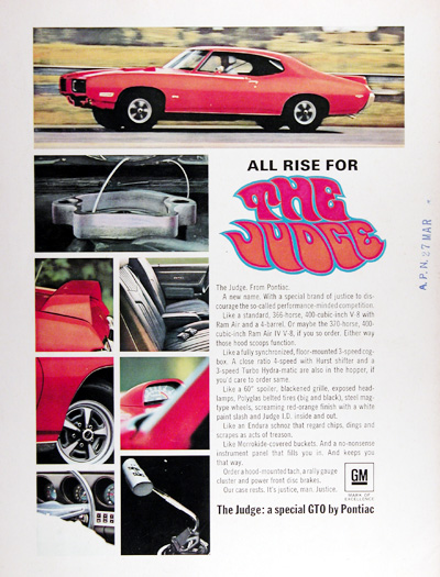 1969 Pontiac GTO The Judge Vintage Ad #025460