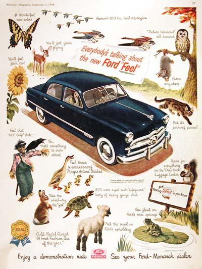 1949 Ford Custom Sedan Classic Vintage Print Ad